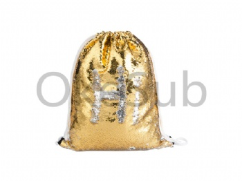 Sequin Drawstring Backpack (Gold with White)