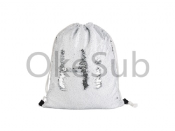 Sequin Drawstring Backpack (Silver with White)