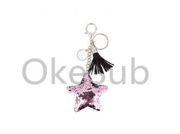 Sequin Keychain with Tassel and Insert (Pink Star)
