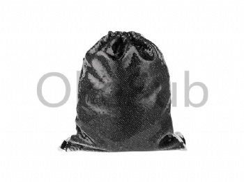 Sequin Drawstring Backpack (Black with White)