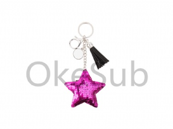 Sequin Keychain with Tassel and Insert (Purple Red Star)