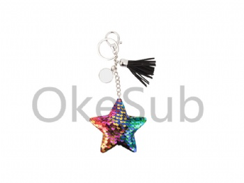 Sequin Keychain with Tassel and Insert  (Mixed color- Star)