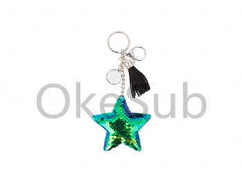 Sequin Keychain with Tassel and Insert(Blue and Green Star)