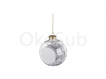 8cm Plastic Christmas Ball Ornament with Silver String (Clear)