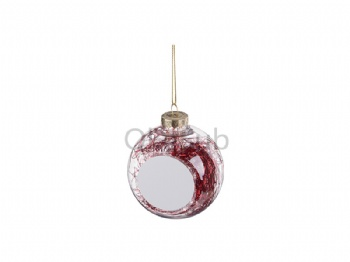 8cm Plastic Christmas Ball Ornament with Red String (Clear)