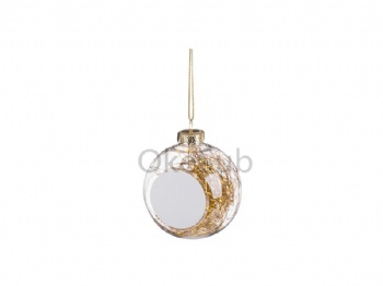 8cm Plastic Christmas Ball Ornament with Gold String (Clear)