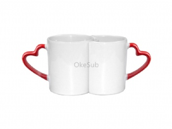 11oz Couple Mugs with Red Heart Handle